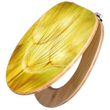 Design WC-Sitz Bambus Holz Motiv Pusteblumen Gold