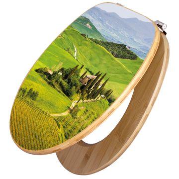 Design WC-Sitz Bambus Holz Motiv Toskana