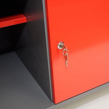 werkbank werktisch werkstatt tisch metall werkplatte sperrholz schublade 1 t r ebay. Black Bedroom Furniture Sets. Home Design Ideas