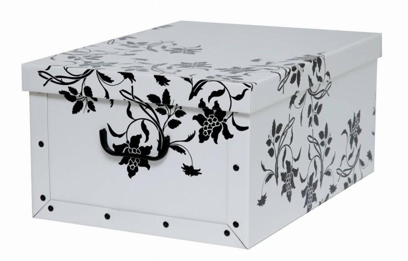 faltschachtel mit deckel dekokarton dekobox geschenkkarton barock blume wei 40l ebay. Black Bedroom Furniture Sets. Home Design Ideas