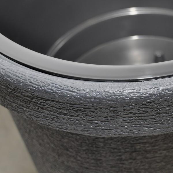 2x pflanzk bel kunststoff xxl grau 74 cm hoch rund 48cm blumentopf blumenk bel ebay. Black Bedroom Furniture Sets. Home Design Ideas
