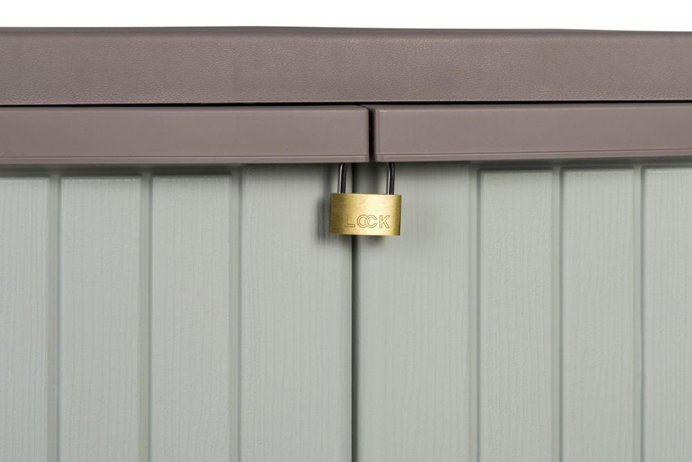 2 st ck gartenschrank kunststoffschrank haushaltsschrank schrank mit holzdesign ebay. Black Bedroom Furniture Sets. Home Design Ideas
