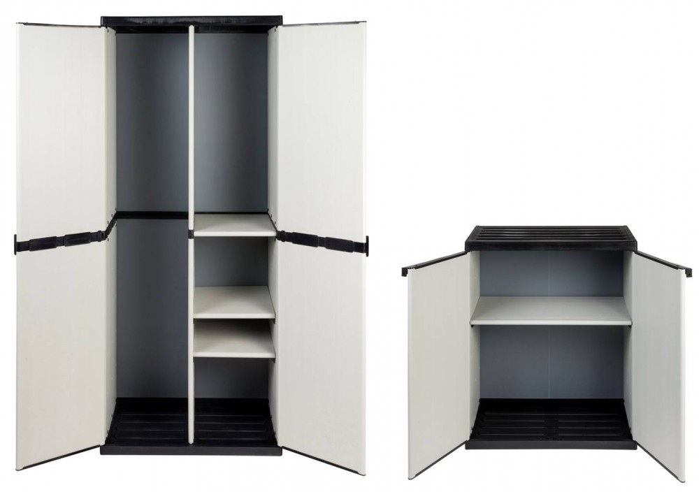 2 x kunststoffschrank schrank spindschrank besenschrank balkonschrank kunststoff ebay. Black Bedroom Furniture Sets. Home Design Ideas