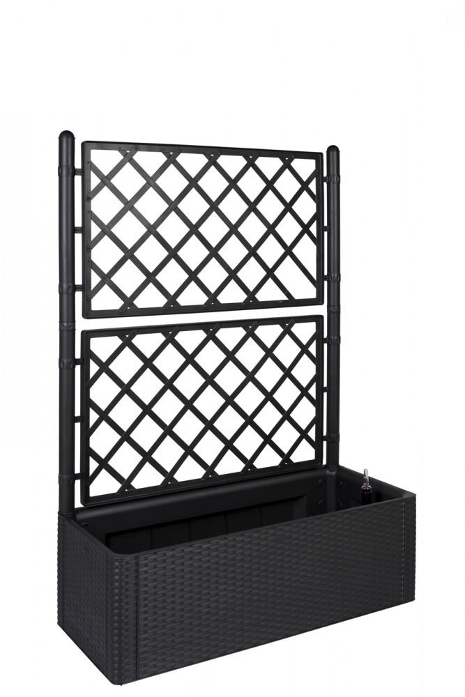 gartenspalier spalier rankgitter rankhilfe pflanzkasten blumenk bel grau rattan ebay. Black Bedroom Furniture Sets. Home Design Ideas