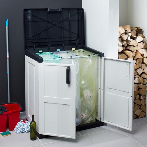 xxl gartenschrank kunststoffschrank schrank m llbox gartenbox kunststoff grau ebay. Black Bedroom Furniture Sets. Home Design Ideas