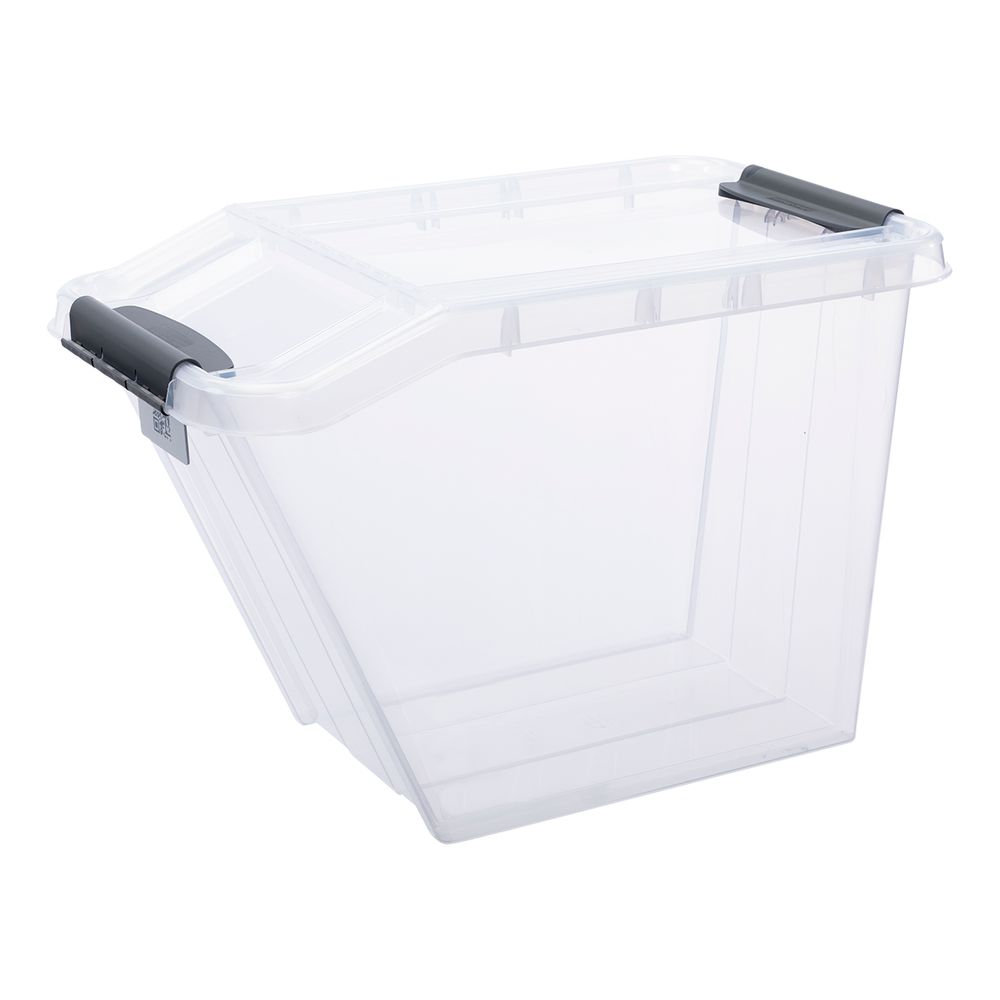 Details Zu Kunststoffbox Lagerbox Sortierbox Box Transparent 58l Geteilter Deckel Stapelbar