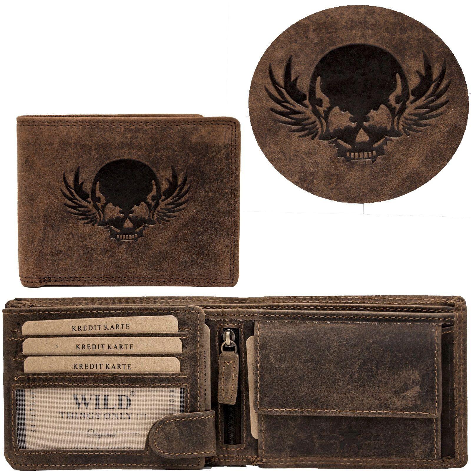 b2378a5016ecca Herren Leder Geldbörse Geldbeutel Brieftasche Männer echt Büffelleder  Totenkopf