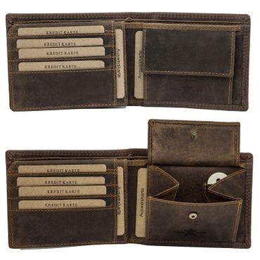 Herren Leder Geldbörse Geldbeutel Brieftasche Büffelleder Kette Motive Männer – Bild 11