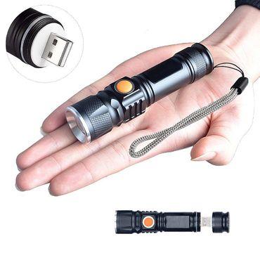 Starke LED USB Taschenlampe Lampe Polizei Swat Wiederaufladbare Cree 1200 Lumen – Bild 1