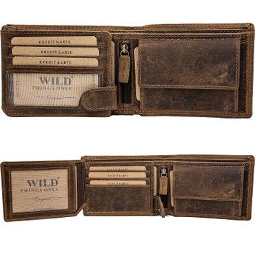 Herren Leder Geldbörse Geldbeutel Brieftasche Bull Bulle Männer echt Büffelleder – Bild 2