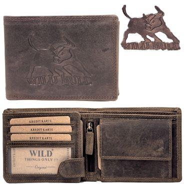 Herren Leder Geldbörse Geldbeutel Brieftasche Bull Bulle Männer echt Büffelleder – Bild 1