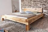 Bett Doppelbett Balkenbett Wildeiche massiv Schlafzimmer Balken rustikal 140x200