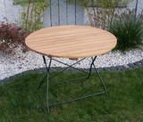 Gartentisch Klapptisch Tisch rund Gartenmöbel Biergarten Robinie mit Stahl grün