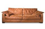 Sofa 2 1/2 Sitz Ledersofa Couch walnuss Leder Anilinleder naturbelassen gewachst