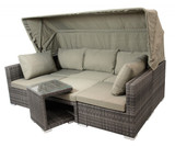 Lounge Gruppe Lounge-Set Gartengruppe 5-teilig mit Funktion Polyrattan grau