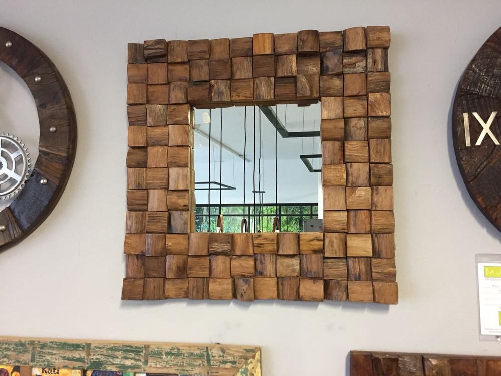 Spiegel Wandspiegel massiv 60x60 cm Vintage UNIKAT Teak AUSSTELLUNGSSTÜCK