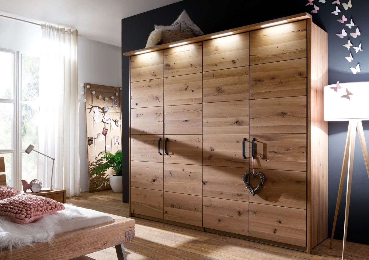 system kleiderschrank 4 t ren wildeiche ge lt modul schrank erweiterbar massiv schlafzimmer. Black Bedroom Furniture Sets. Home Design Ideas