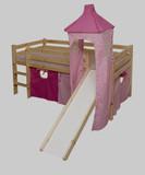 halbhohes Bett Hochbett Stockbett Spielbett Kiefer massiv Rutsche Turm Vorhang