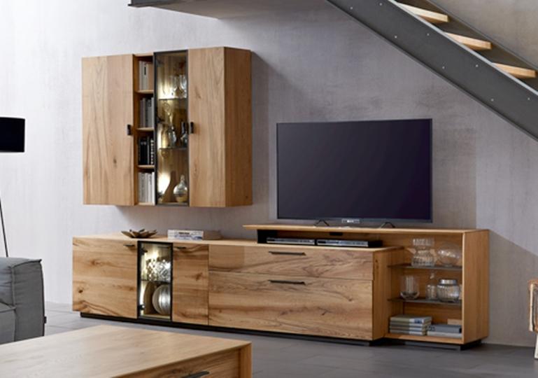 Anbauwand wohnzimmer kombination wohnwand schrank for Wohnzimmermobel echtholz modern