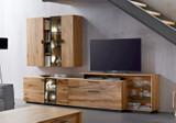 Anbauwand Wohnzimmer Kombination Wohnwand Schrank Wohnkombi Lowboard Asteiche
