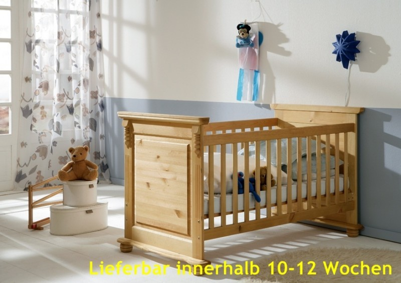 Babybett sprossenbett kinderbett bett landhausstil kiefer for Jugendzimmer massiv