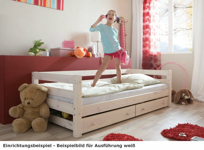 einzelbett mit lattenrost kinderbett schubkasten schubladenbett kiefer massiv baby kinder. Black Bedroom Furniture Sets. Home Design Ideas