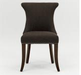 Polstersessel Polsterstuhl 2er Set Sessel mit Ziernägeln Stoff / Beine braun