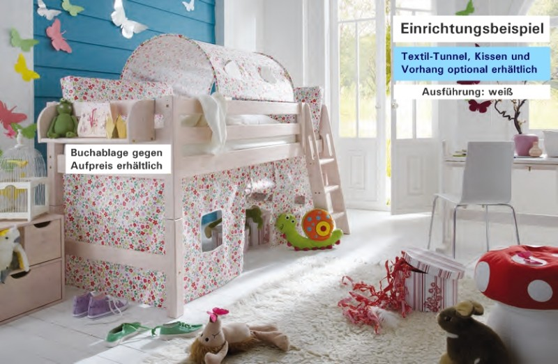 hochbett kinderbett bett einzelbett kiefer massiv halbhoch. Black Bedroom Furniture Sets. Home Design Ideas