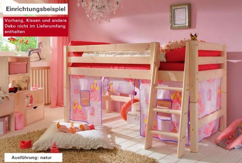Hochbett kinderbett bett einzelbett kiefer massiv halbhoch for Jugendzimmer mit doppelbett