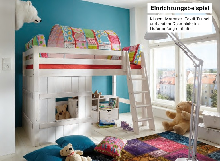 hochbett bett kinderbett mittelhoch spielecke kinderzimmer kiefer massiv baby kinder. Black Bedroom Furniture Sets. Home Design Ideas