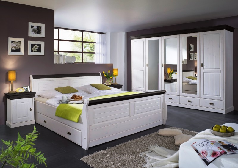 schlafzimmer komplett schrank 5turig bett landhausstil kiefer massiv