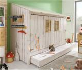 Jugendbett Kinderbett Kojenbett Bett Kiefer massiv weiss/laugenfarbig abgesetzt