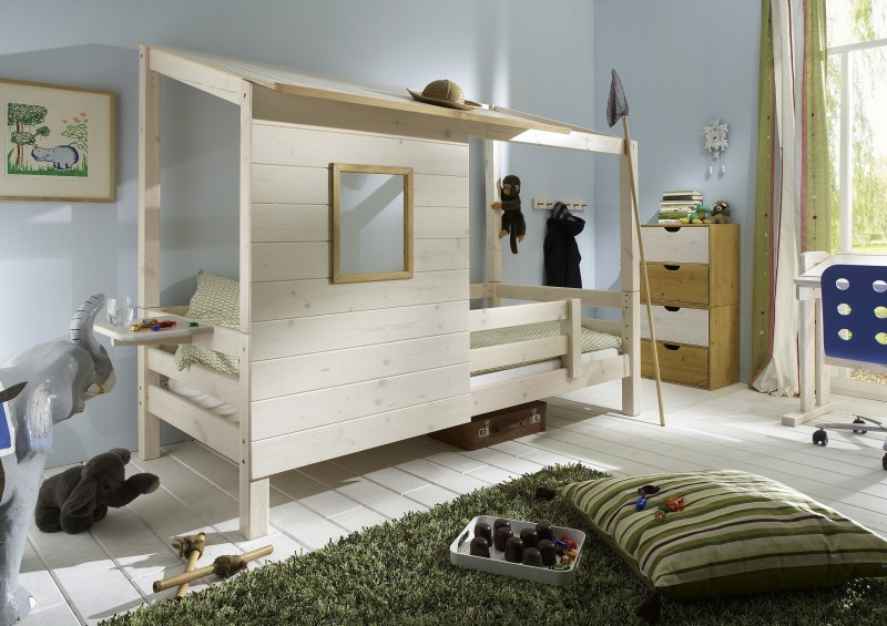 kojenbett spielbett abenteuerbett bett kiefer massiv weiss laugenfarbig baby kinder. Black Bedroom Furniture Sets. Home Design Ideas