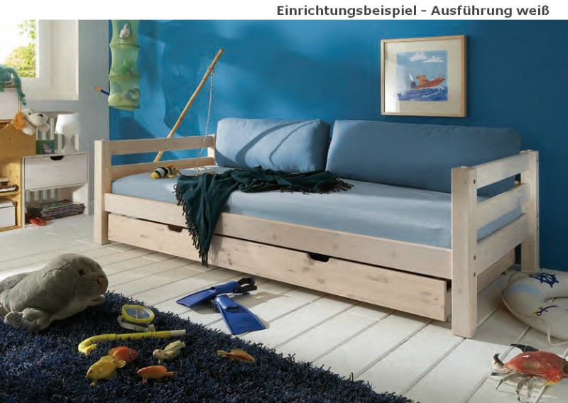 einzelbett mit lattenrost kinderbett bettschublade schubkasten kiefer massiv baby kinder. Black Bedroom Furniture Sets. Home Design Ideas