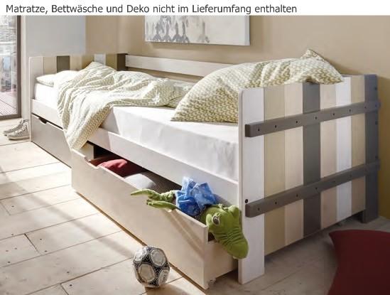einzelbett kinderbett jugendbett schubladenbett kinderzimmer kiefer massiv baby kinder. Black Bedroom Furniture Sets. Home Design Ideas