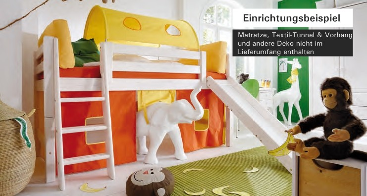 hochbett bett kinderbett mit rutsche kinderzimmer jugendzimmer kiefer massiv baby kinder. Black Bedroom Furniture Sets. Home Design Ideas