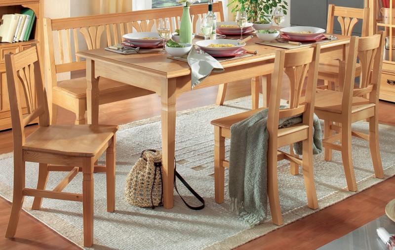 Essgruppe Esszimmer Küche Tischgruppe Esstisch Stühle Bank Fichte ...