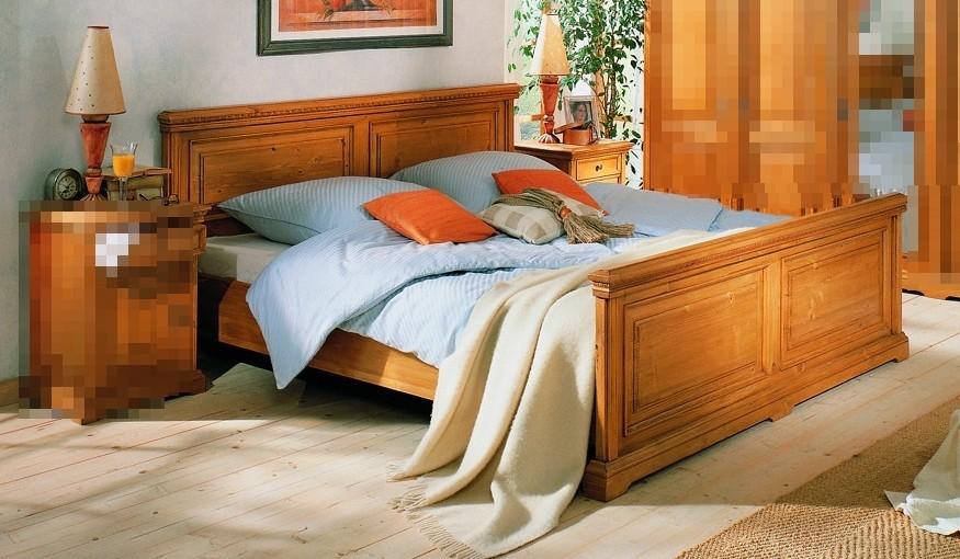 Bett Doppelbett Ehebett Holzbett Fichte massiv antik ...