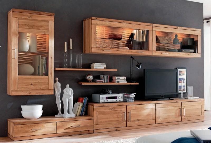 Wohnwand Wohnzimmer Tv Board Wandboard Vitrinenschrank Wildeiche Massiv Geolt Lanatura
