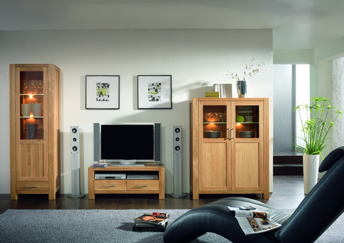 wohnwand wohnzimmerwand highboard vitrine tv board eiche. Black Bedroom Furniture Sets. Home Design Ideas