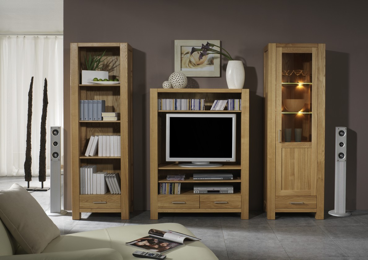 wohnwand wohnzimmerwand b cherregal vitrine tv regal eiche massiv ge lt natur wohnzimmer. Black Bedroom Furniture Sets. Home Design Ideas