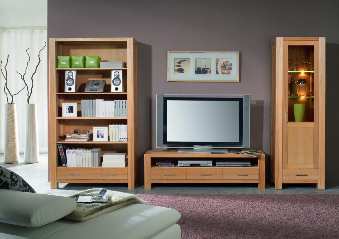 Wohnwand Wohnzimmerwand Bücherregal Vitrine TV-Regal Kernbuche ...