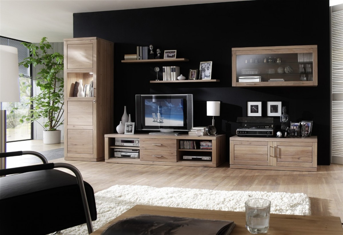 wohnwand wohnzimmerwand wohnzimmer wildeiche ge lt wei patiniert wohnzimmer komplettsets wohnw nde. Black Bedroom Furniture Sets. Home Design Ideas