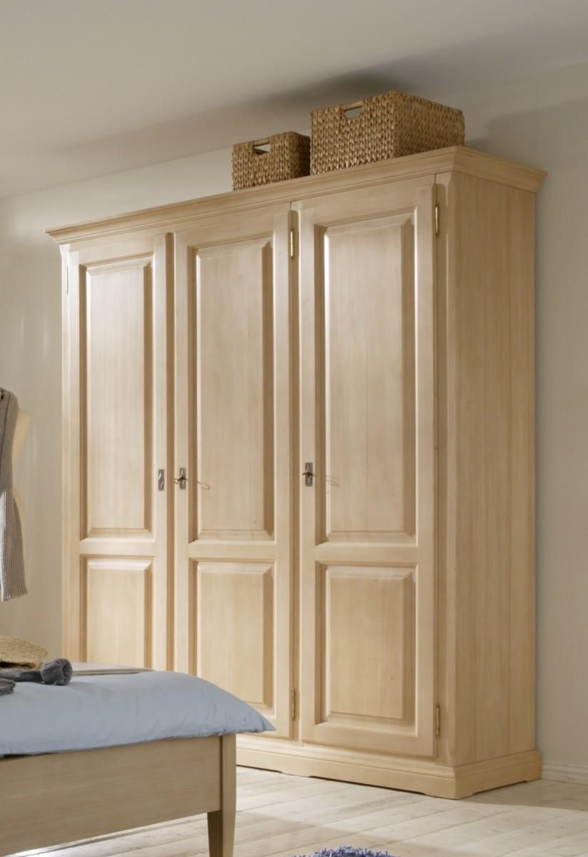 Schrank Kleiderschrank 3 Turig Schlafzimmer Fichte Massiv Gewachst La Natura