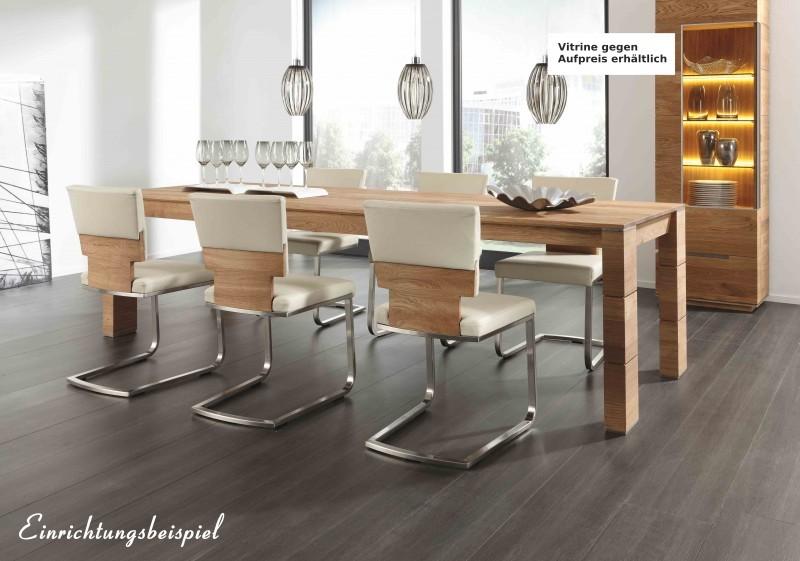 stuhl freischwinger esszimmerstuhl polsterstuhl eiche leder weiss massiv esszimmer. Black Bedroom Furniture Sets. Home Design Ideas