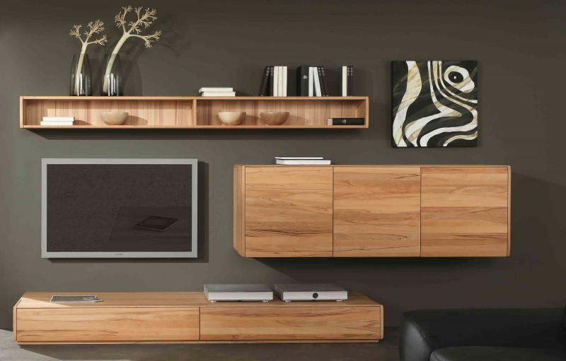 wohnwand wohnzimmerwand lowboard h ngeschrank wandregal kernbuche massiv ge lt wohnzimmer. Black Bedroom Furniture Sets. Home Design Ideas
