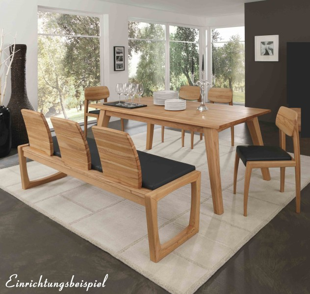 tischgruppe esszimmergruppe esszimmer tisch st hle bank kernbuche massiv leder esszimmer. Black Bedroom Furniture Sets. Home Design Ideas
