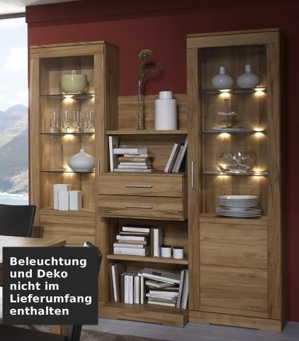 wohnwand esszimmer vitrinen regal kernbuche massiv geölt natur