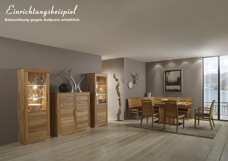 esszimmer wohnzimmer tischgruppe eckbank vitrine kernbuche. Black Bedroom Furniture Sets. Home Design Ideas