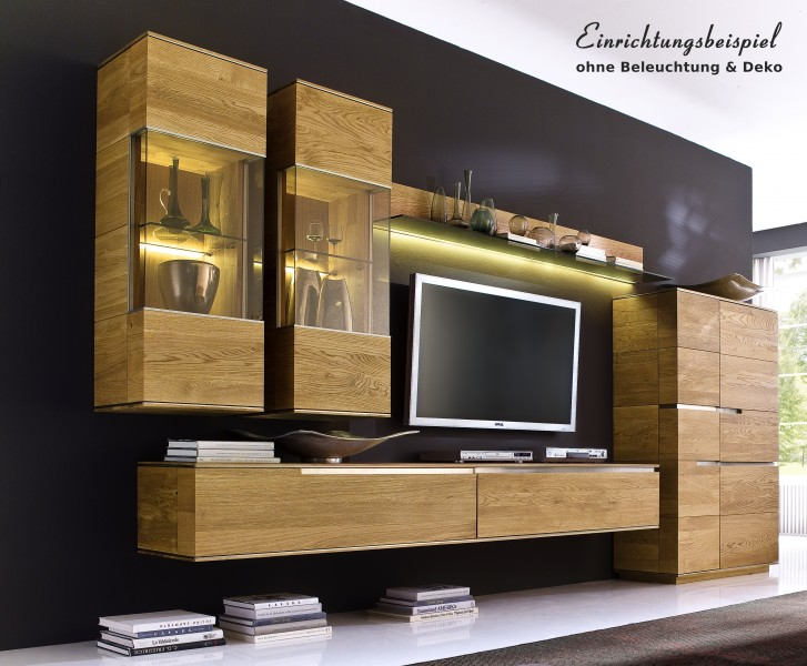 Wohnzimmer wohnwand wohnzimmerwand asteiche eiche massiv for Wohnzimmerschrank modern wohnzimmer